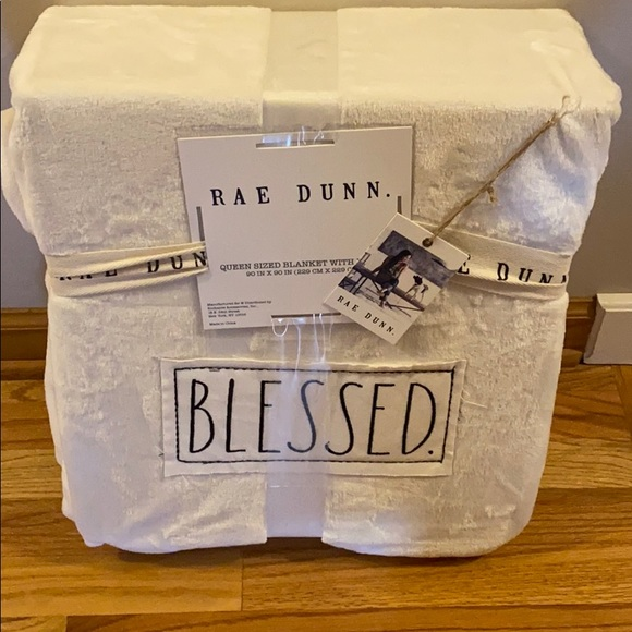Rae Dunn Creamy White Blessed Queen Size Blanket